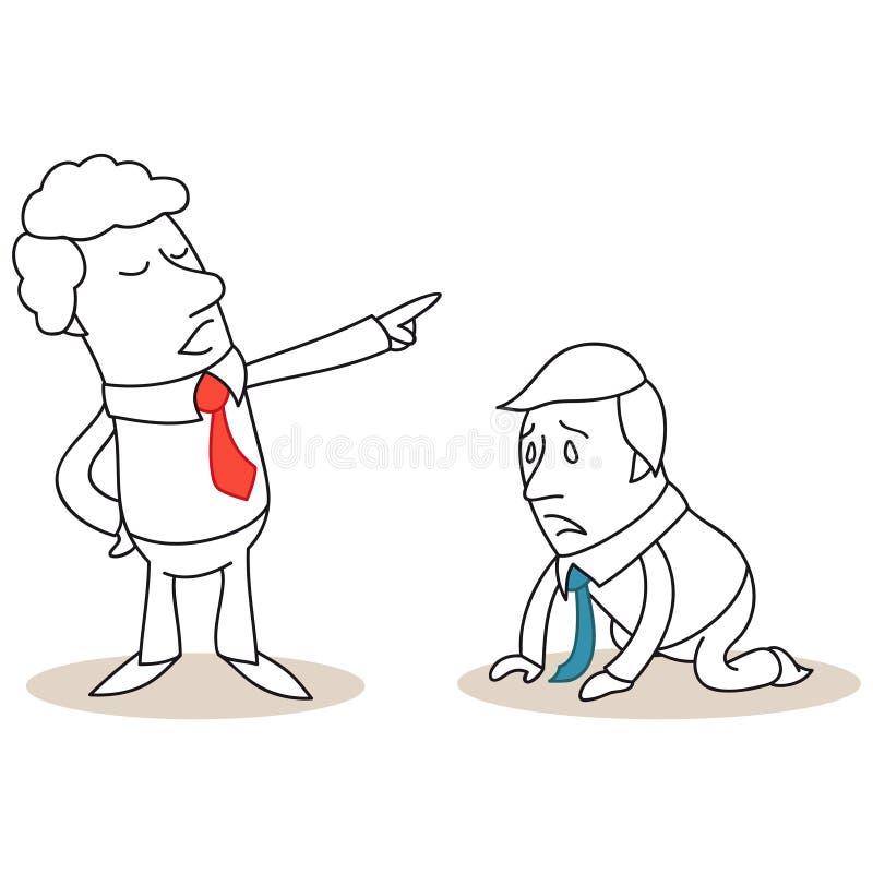 Hoffnungsloser Geschäftsmann auf seinen Knien abgefeuert vom Chef stock abbildung