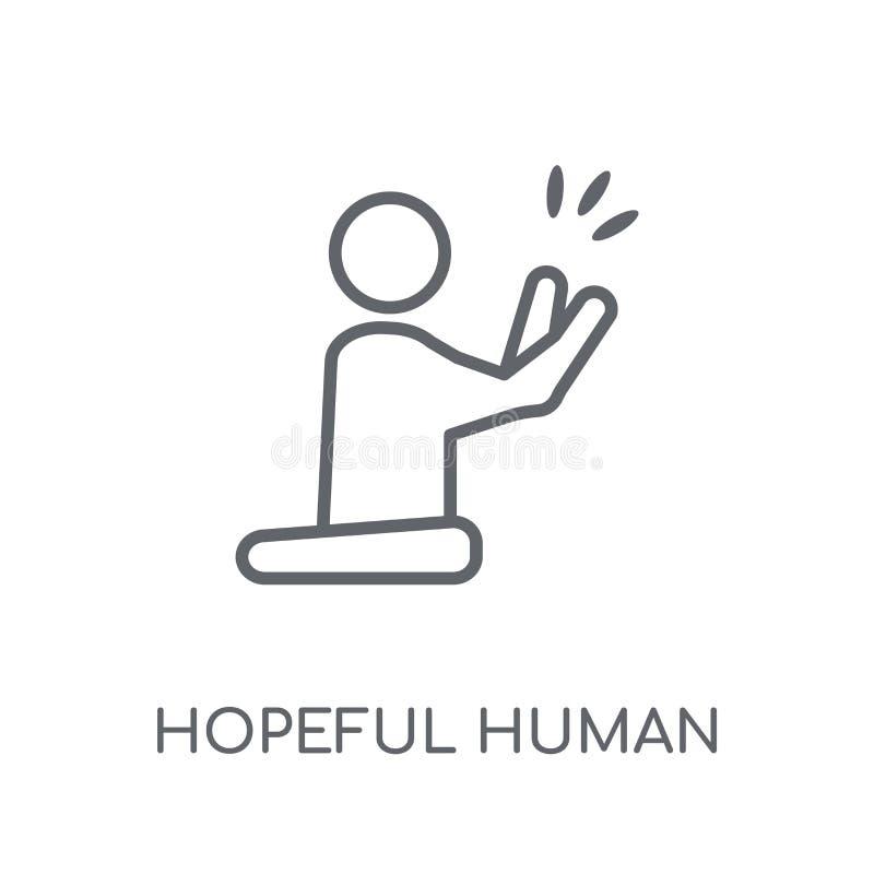 hoffnungsvolle menschliche lineare Ikone Hoffnungsvoller menschlicher Logobetrug des modernen Entwurfs stock abbildung