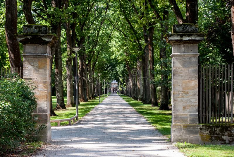 The Entrance to the Hofgarten in the city of Bayreuth royalty free stock photo