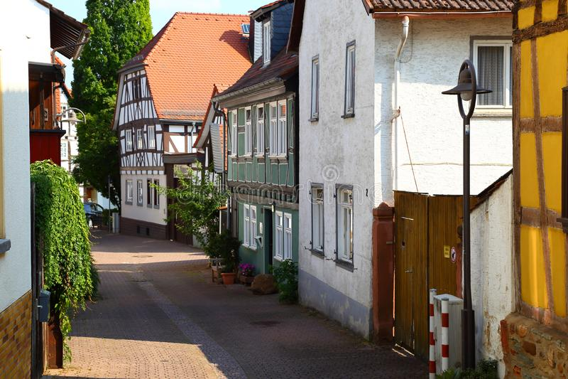 Narrow street of ancient Hofheim , Germany. Hofheim Hofheim am Taunus - administrative centre of Main-Taunus district, German state of Hesse, near Frankfurt stock image