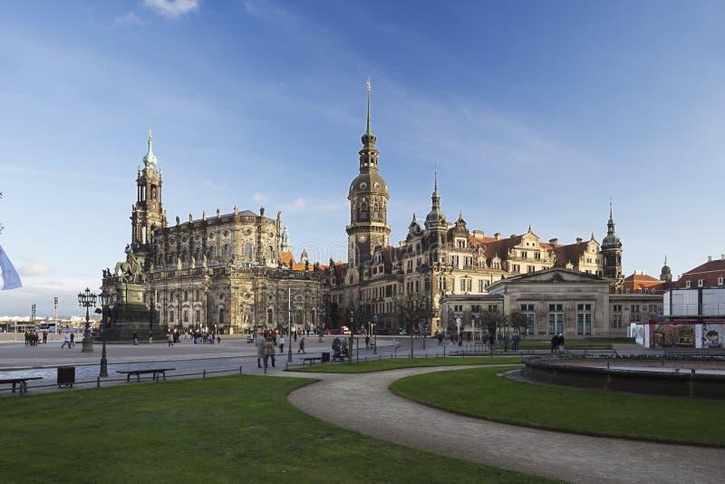Hofkirche和Residenzschloss在德累斯顿,德国 免版税图库摄影