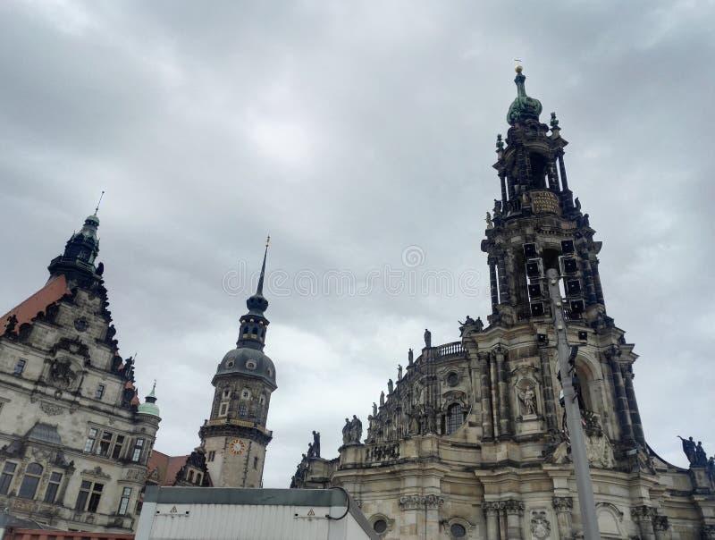 Hofkirche教会在德累斯顿,萨克森,德国 库存照片