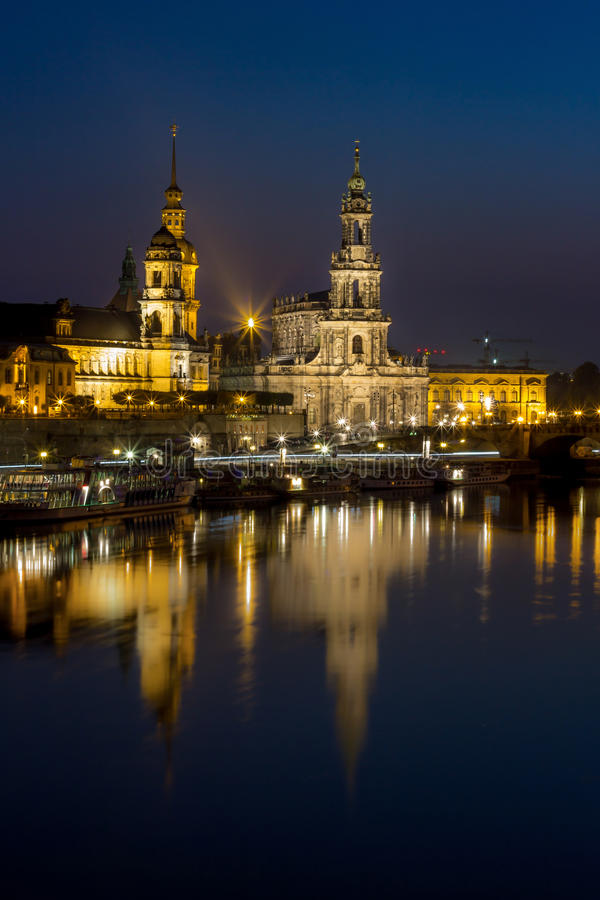 Hofkirche Church, Royal Palace -night skyline-Dresden Germany. Dresden Germany, night river Elbe, church, palace, cruise ships, steamers royalty free stock image
