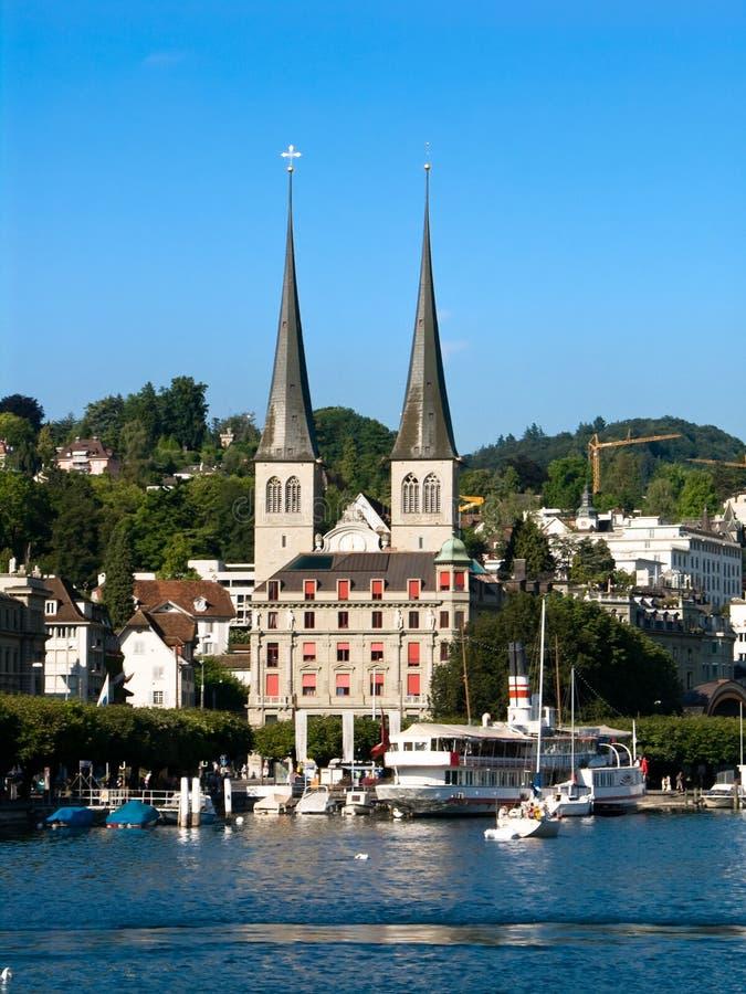 Hofkirche in Lucerne, Luzern, Switzerland royalty free stock photography