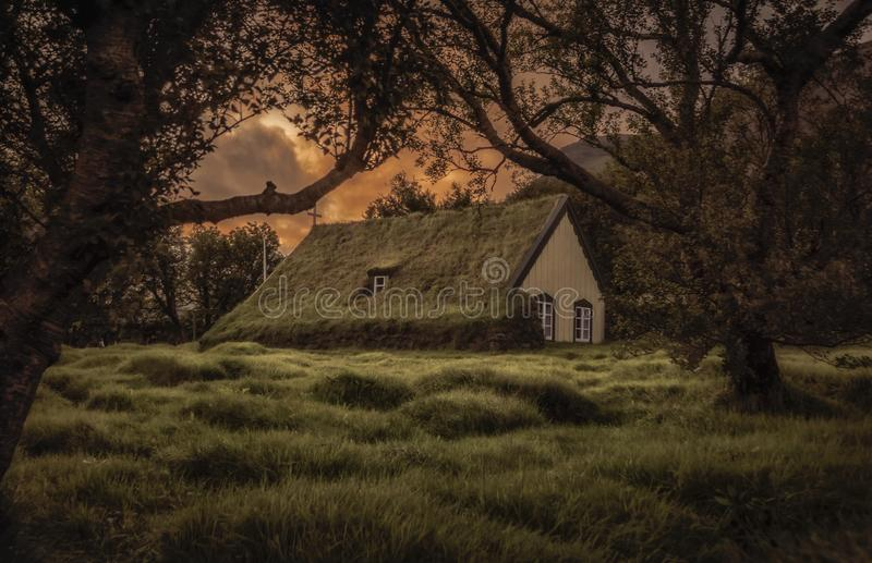 Hofskirkja. Old traditional church in Iceland. stock photography