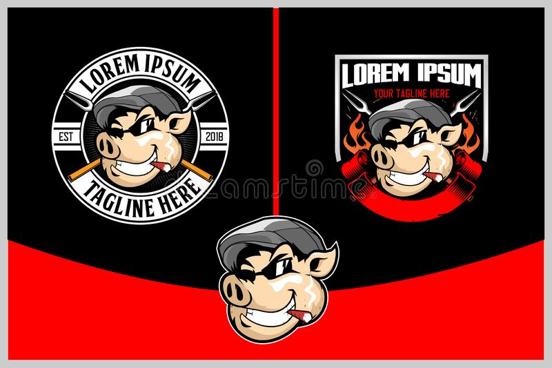 Hog with cigarette badge or shield logo template vector illustration