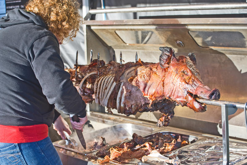 Hog roast at Banff Castle stock image
