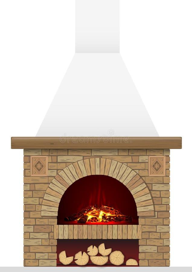 Hogar antiguo del ladrillo con el fuego stock de ilustración