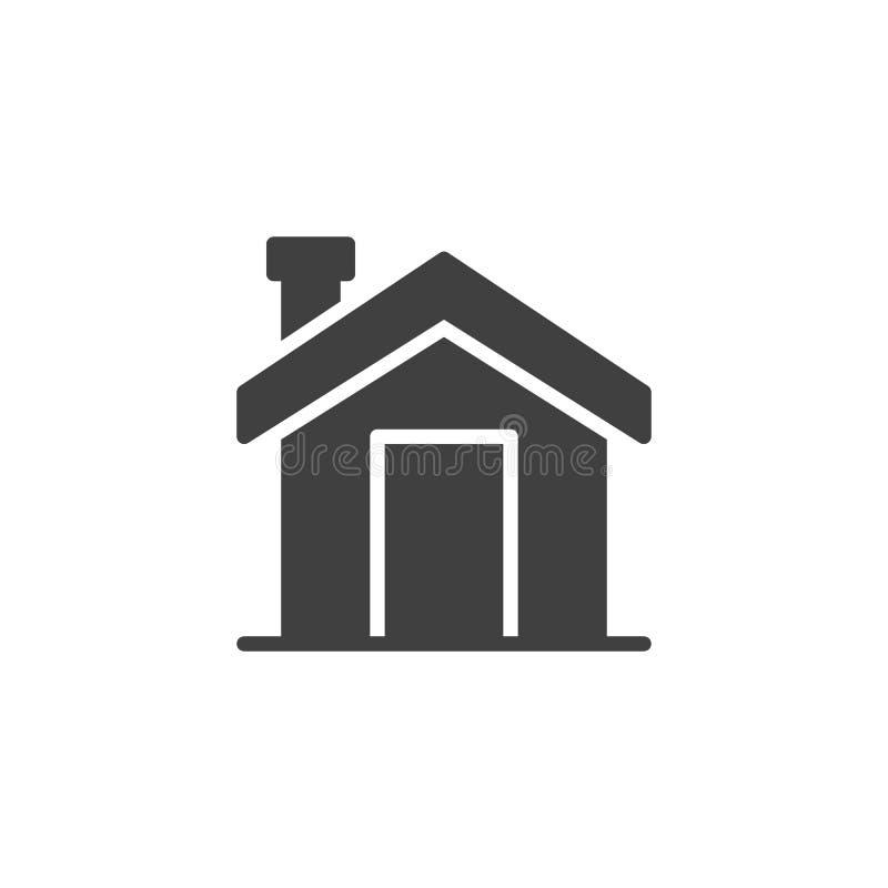 Hogar con el icono del vector de la chimenea stock de ilustración