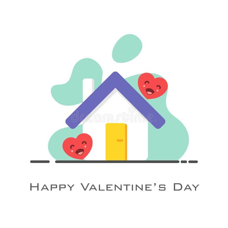 Hogar con los corazones en el estilo plano para el día de tarjeta del día de San Valentín ilustración del vector