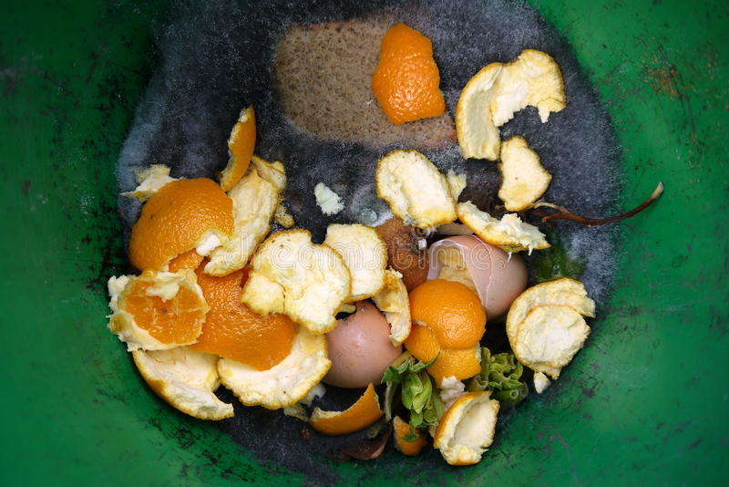 Hogar: cubo del estiércol vegetal con la comida de la descomposición fotografía de archivo libre de regalías