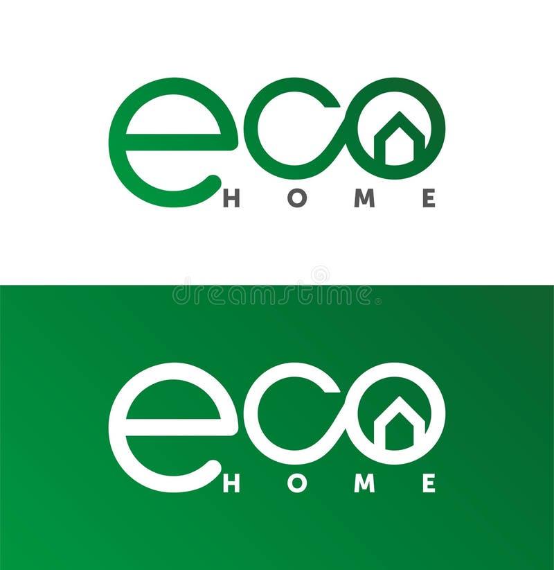 Hogar de Eco, logotipo de la casa, logotipo casero, eco, verde, plantilla del vector ilustración del vector