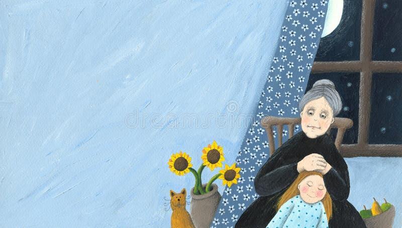 Hogar de la abuela y del granddaughterat stock de ilustración