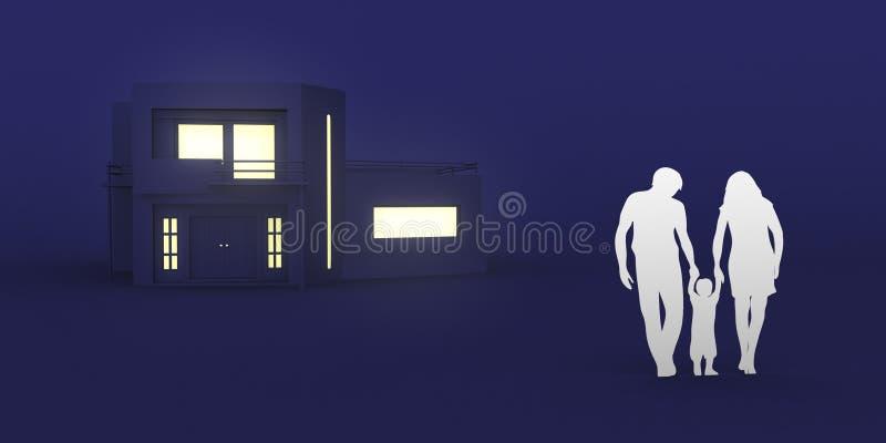 Hogar de la compra de la familia nuevo, ejemplo del gráfico 3D fotografía de archivo libre de regalías