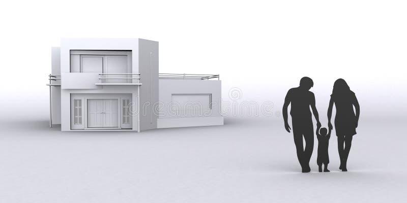Hogar de la compra de la familia nuevo, ejemplo del gráfico 3D foto de archivo
