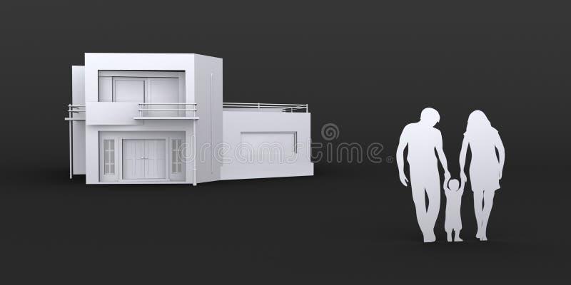 Hogar de la compra de la familia nuevo, ejemplo del gráfico 3D fotografía de archivo