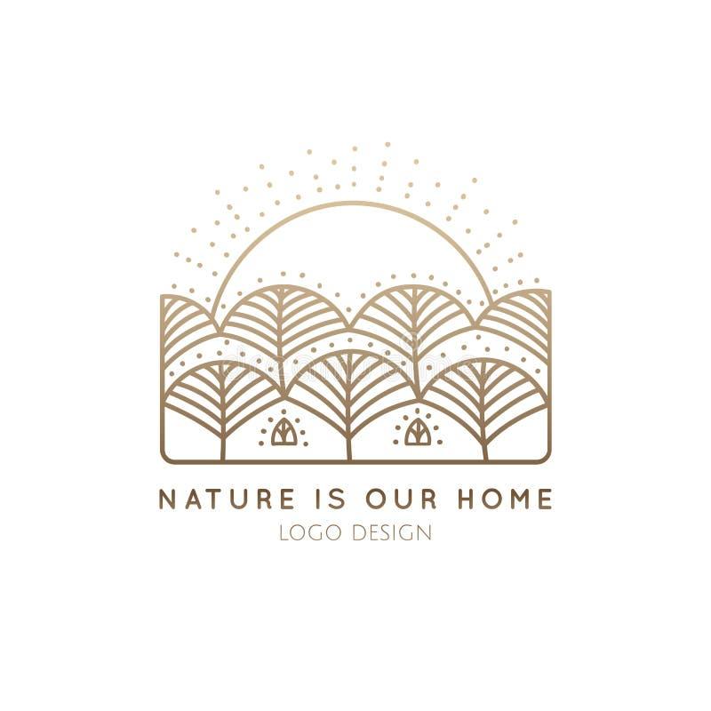 Hogar de la naturaleza del logotipo stock de ilustración