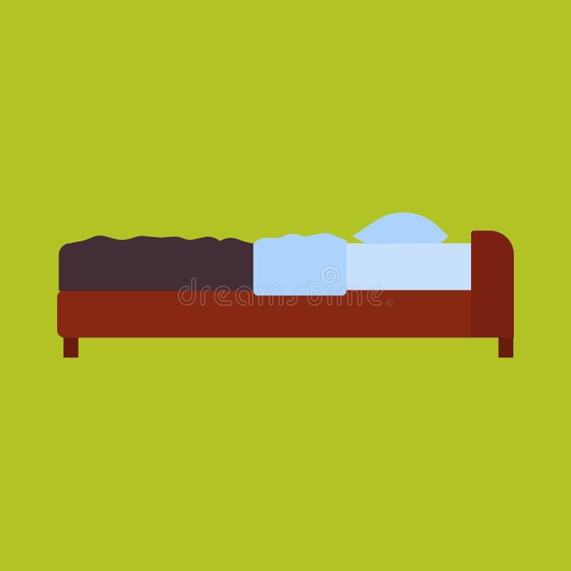 Hogar de los muebles de la historieta del dormitorio del vector de la vista lateral de la cama Apartamento plano simple del hotel stock de ilustración