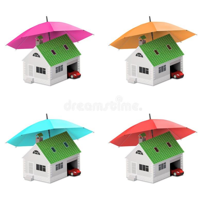 Hogar del seguro, casa, vida, protección del coche Casa y coche de compra para el icono de la familia Proteja los conceptos de la ilustración del vector