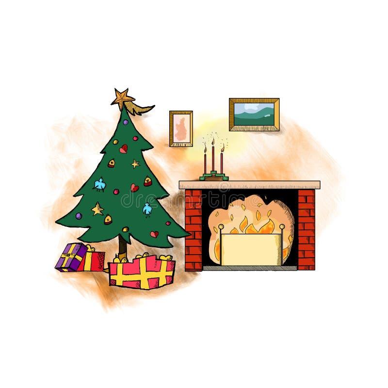 Hogar del tema de la Navidad stock de ilustración