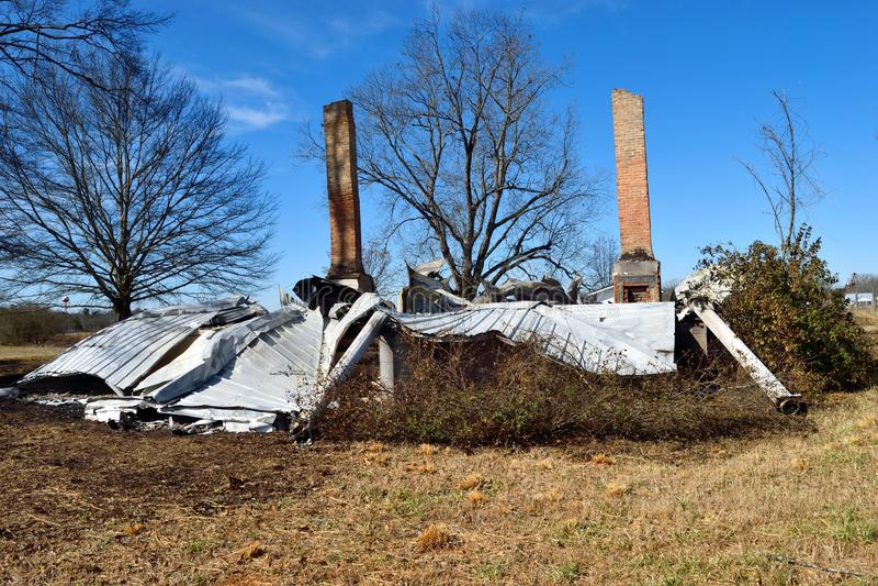 Hogar destruido por Fire imagen de archivo libre de regalías