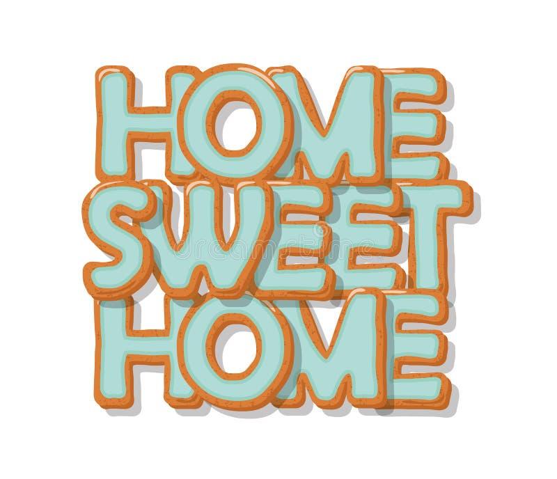 Hogar dulce casero Letras dibujadas mano de la historieta de la galleta Diseño lindo en colores azules en colores pastel Aislado  libre illustration