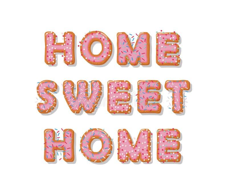 Hogar dulce casero Letras dibujadas mano de la historieta de la galleta Diseño lindo en colores del rosa en colores pastel ilustración del vector