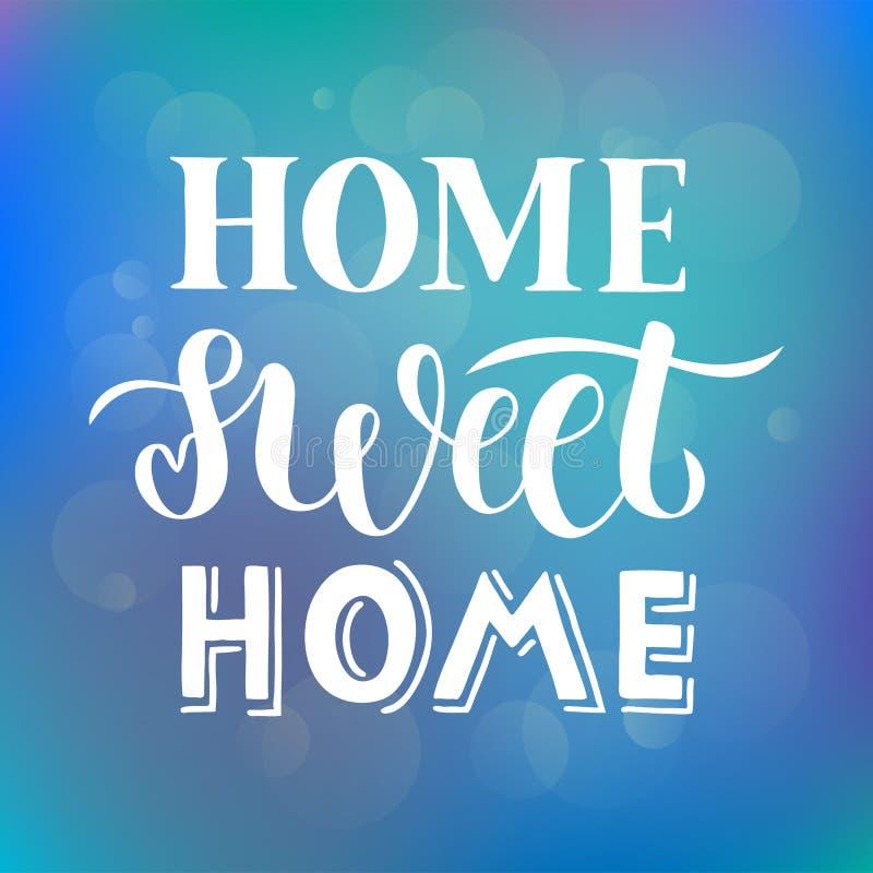 Hogar dulce casero - mano dibujada poniendo letras a cita en fondo púrpura azul abstracto con el efecto luminoso del bokeh para l libre illustration