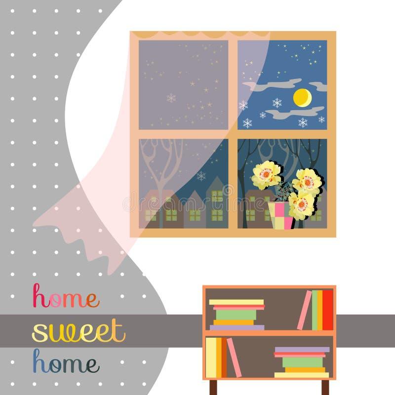 Hogar dulce Tarjeta linda del interior con las flores hermosas en alféizar libre illustration
