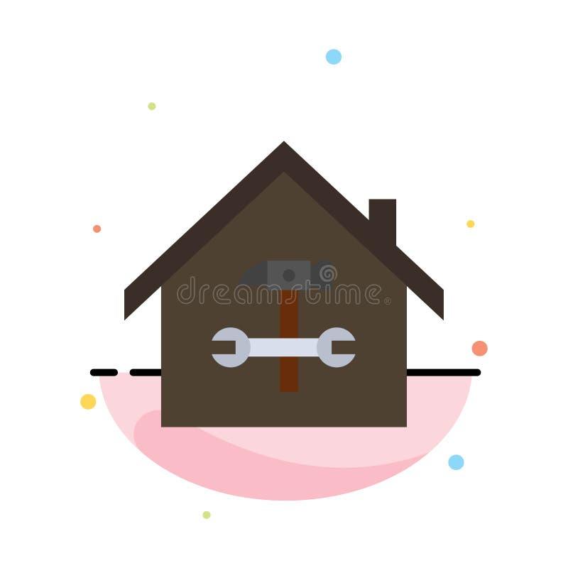 Hogar, edificio, construcción, reparación, martillo, plantilla plana del icono del color del extracto de la llave ilustración del vector