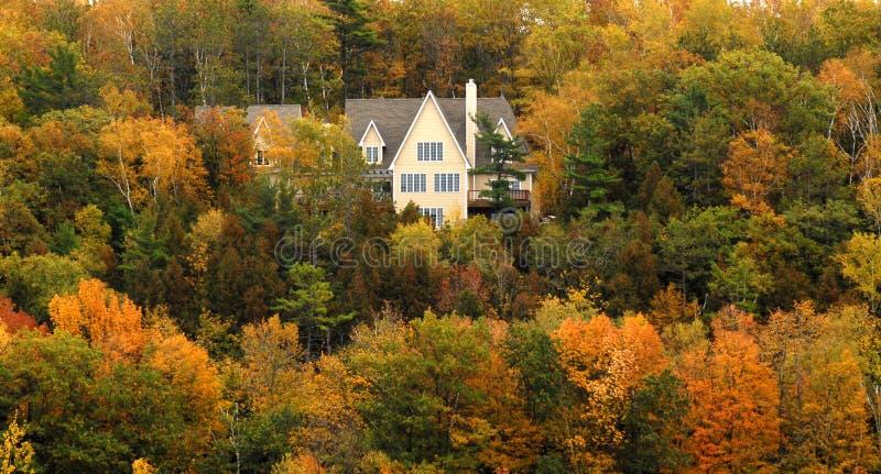 Hogar elegante en la ladera con follaje del otoño foto de archivo