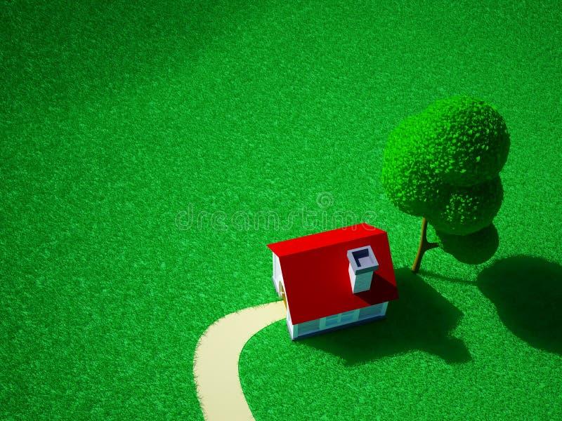 Hogar en un campo verde libre illustration