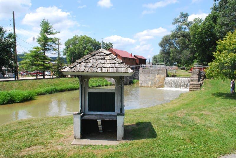 Hogar histórico de Metamora Indiana del canal y del ferrocarril del río de Whitewater foto de archivo libre de regalías