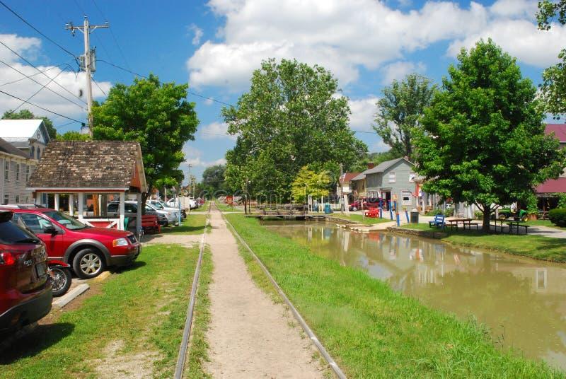 Hogar histórico de Metamora Indiana del canal y del ferrocarril del río de Whitewater fotos de archivo
