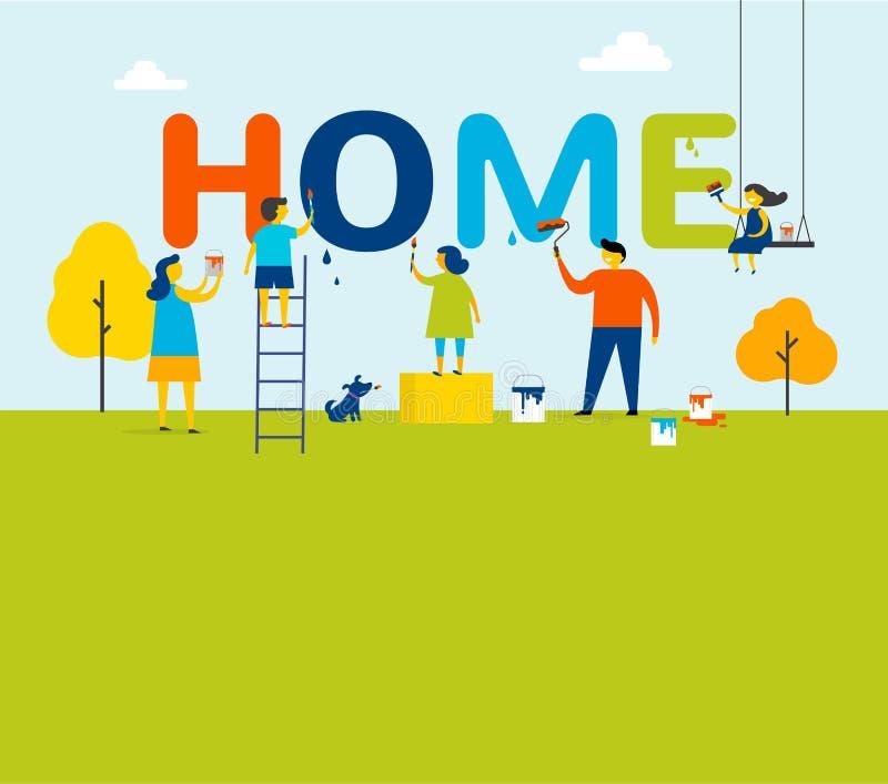 Hogar - la familia está pintando letras, diseño de concepto con los niños, la madre y al padre, escena al aire libre del verano stock de ilustración