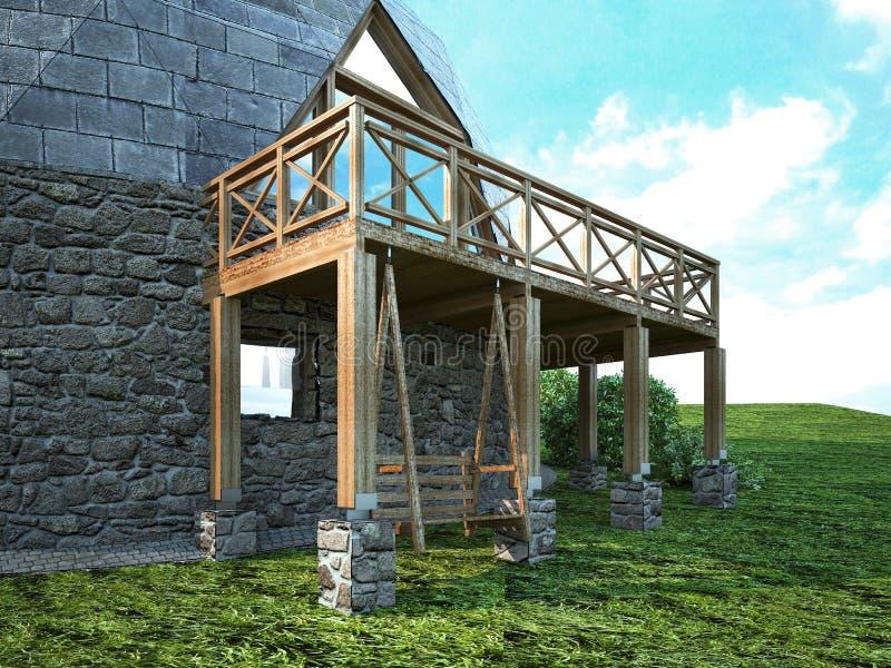 Hogar magnífico de la bóveda del futuro Diseño verde, innovación, arquitectura ilustración del vector