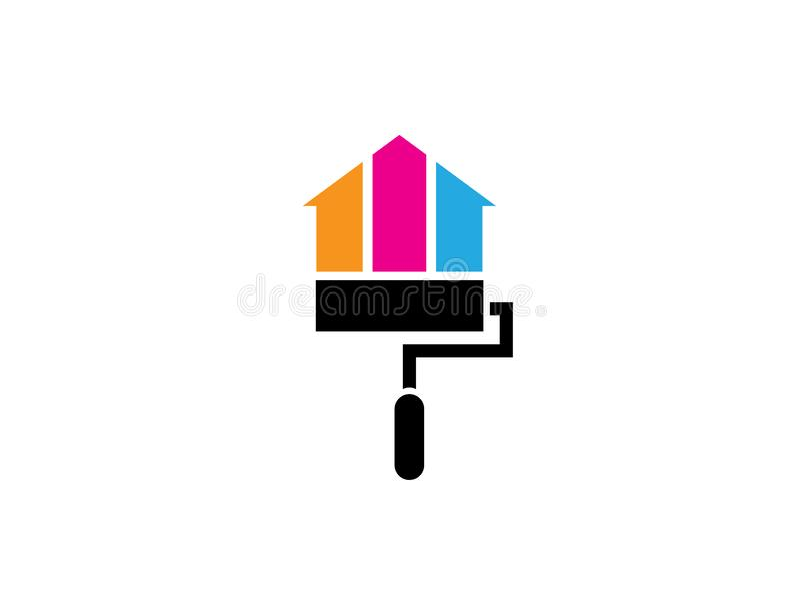 Hogar o casa de la pintura del cepillo del rodillo con los multicolors para el diseño del logotipo stock de ilustración