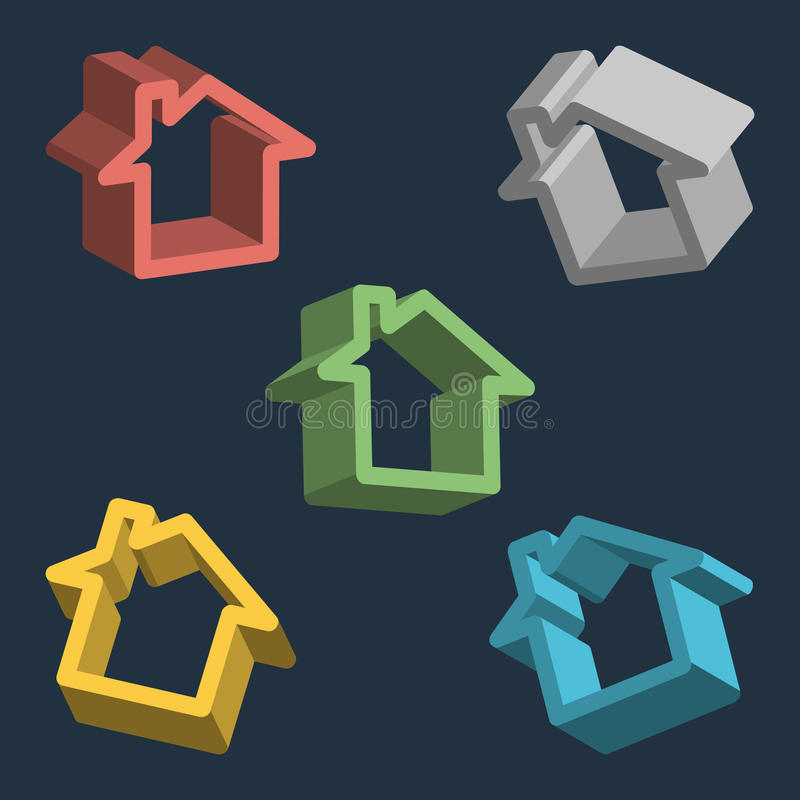 Hogar, sistema del icono de la casa ilustración del vector