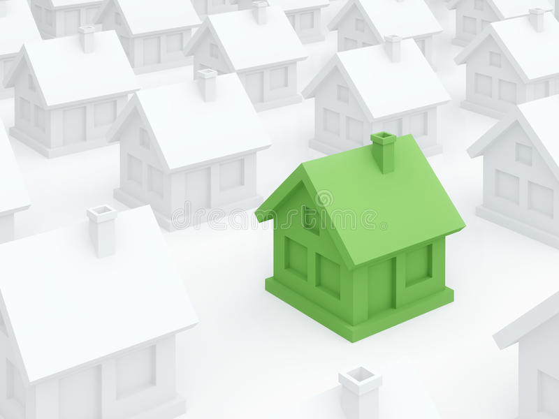 Hogar verde del eco entre casas blancas ordinarias (3D rinden) stock de ilustración