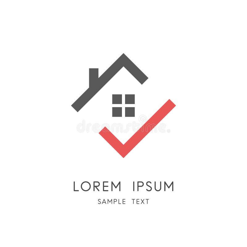 Hogar y marca de verificación - tejado de la casa con la chimenea y la ventana stock de ilustración