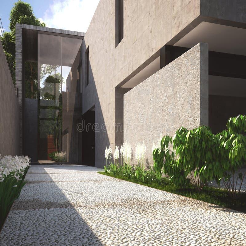 Hogar y patio modernos de verano ilustración del vector