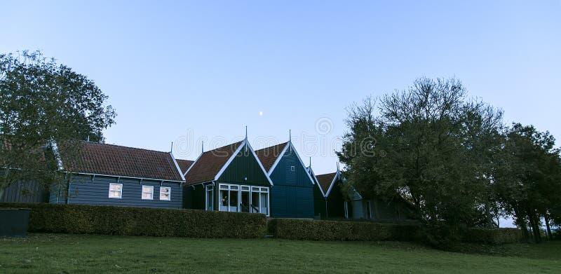 hogares de los pescadores en Schokland en el Zuiderzee imagen de archivo