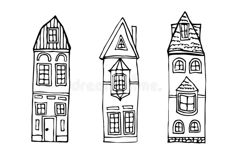 Hogares dibujados mano del vintage ilustración del vector