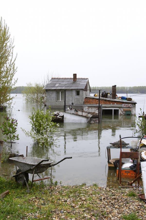 Hogares inundados foto de archivo