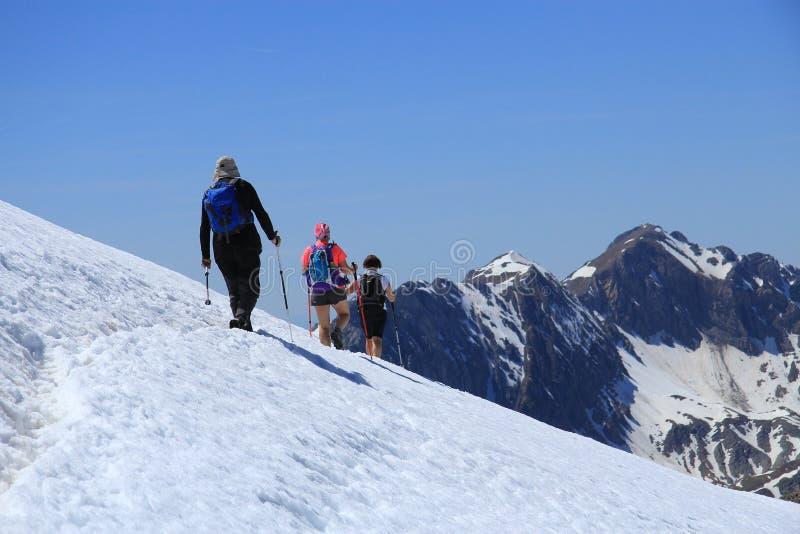 Hoge berg die door de Pyreneeën kruisen stock afbeelding
