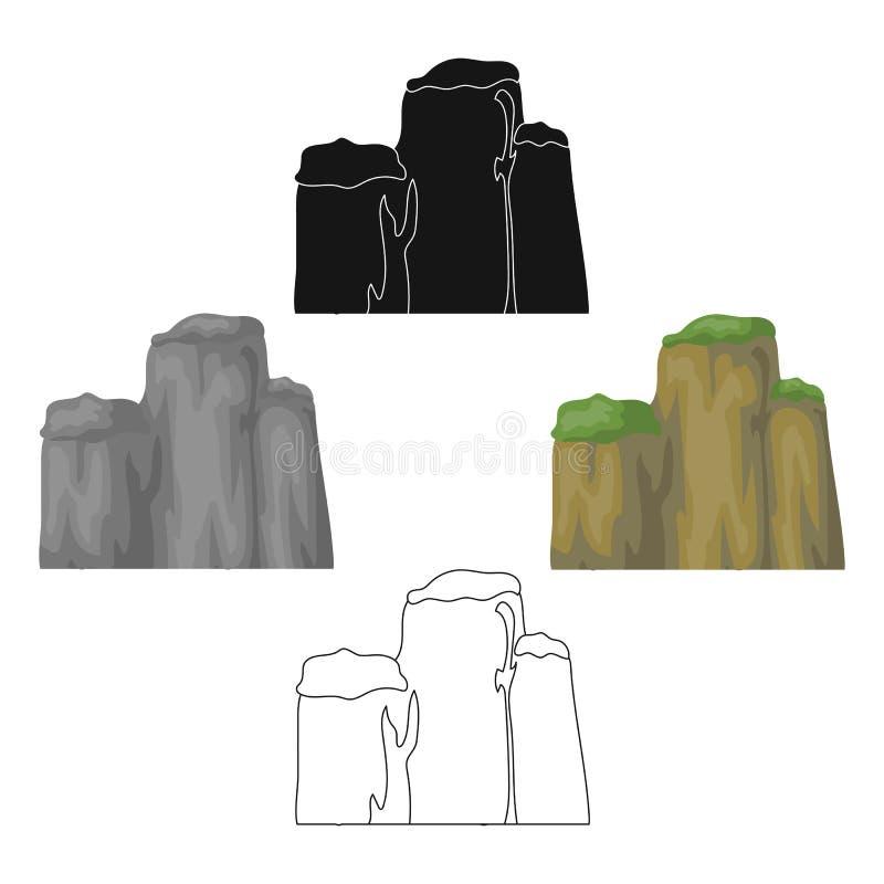 Hoge groene berg met struiken op bovenkant De verschillende bergen kiezen pictogram in beeldverhaal, de zwarte voorraad van het s vector illustratie