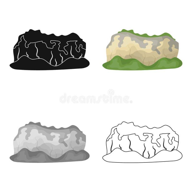 Hoge groene bergen Bergen die met bossen worden behandeld De verschillende bergen kiezen pictogram in vector het symboolvoorraad  stock illustratie