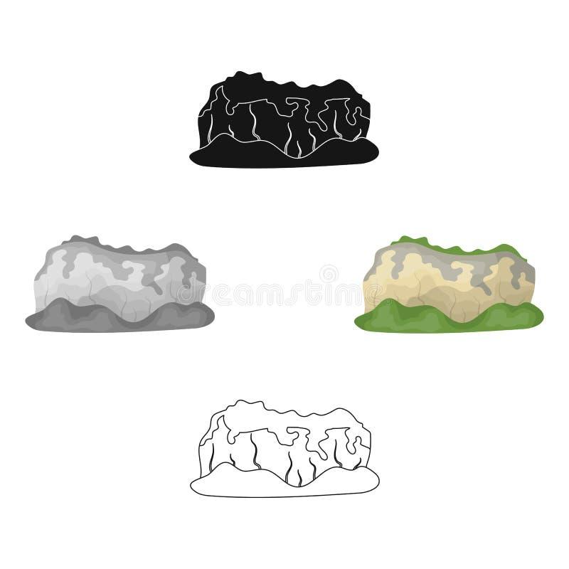 Hoge groene bergen Bergen die met bossen worden behandeld De verschillende bergen kiezen pictogram in beeldverhaal, zwart stijl v royalty-vrije illustratie