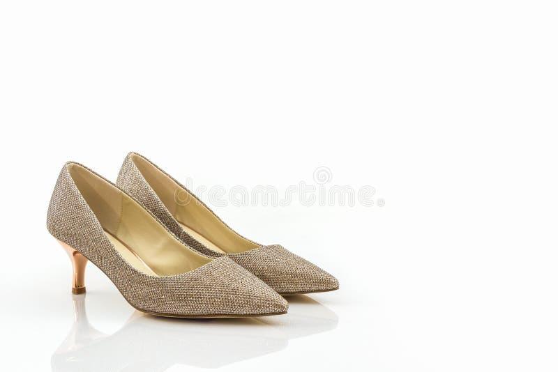 Hoge hiel van gouden schoenen royalty-vrije stock foto