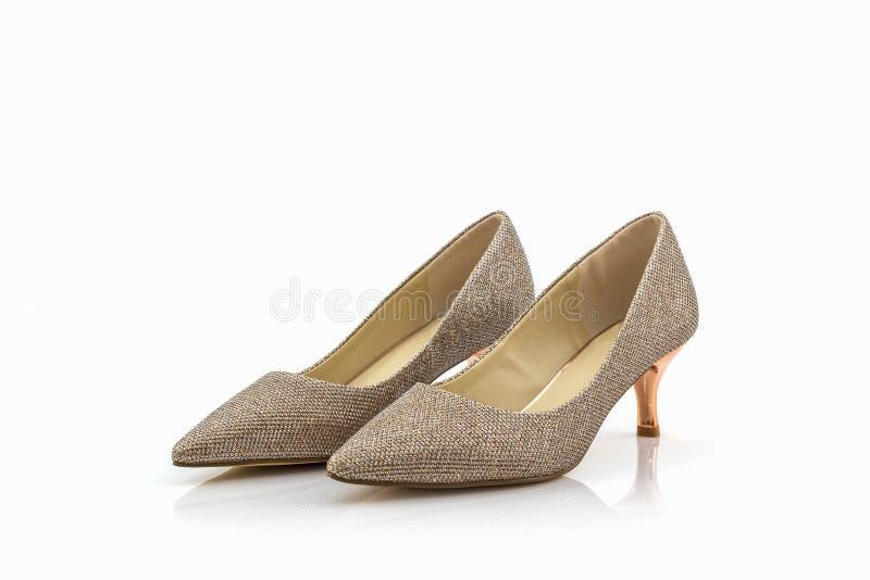 Hoge hiel van gouden schoenen royalty-vrije stock foto's